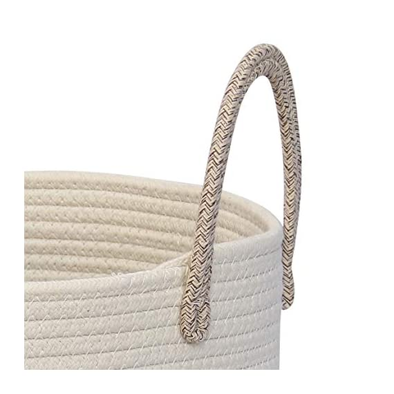 """OrganiHaus XL Large Rope Laundry Basket – Tastefully Appointed Extra Large Decorative Hamper, 100% Natural Cotton Storage Basket, Rope Basket, Toy Basket, Blanket Basket, Pillow Basket - 15"""" x 18"""" - ⭐️ LOVELY OFF WHITE WITH WICKER BROWN BASE - This has a pure, natural vibe and beautiful look. These go well in any room in your home. The Jongui is a special creation our customers love. Choose from two popular sizes. Many people buy both to fully outfit their living room, laundry, and bedroom. 100% natural hand woven basket you won't want to be without ⭐️ CHOOSE FROM TALL OR WIDE SHAPED - This tall basket makes a natural way to store and organize clothing, big pillows, blankets, kids toys, and a variety of supplies and craft accessories. We like how one is quite compact for small spaces while the oversized basket spreads out to accommodate bulkier items like large blankets and throw pillows ⭐️ ECO-FRIENDLY NATURAL HANDMADE cotton rope has no plastic, harsh chemicals, toxins, or harmful additives. Safe for kids and perfect for nursery storage too. Big easy-carry handles make this basket the most portable. Compare to other baskets with small handles that need both hands to carry or plastic ones that hurt you - laundry-room, hampers-baskets, entryway-laundry-room - 41FK35rcwYL. SS570  -"""