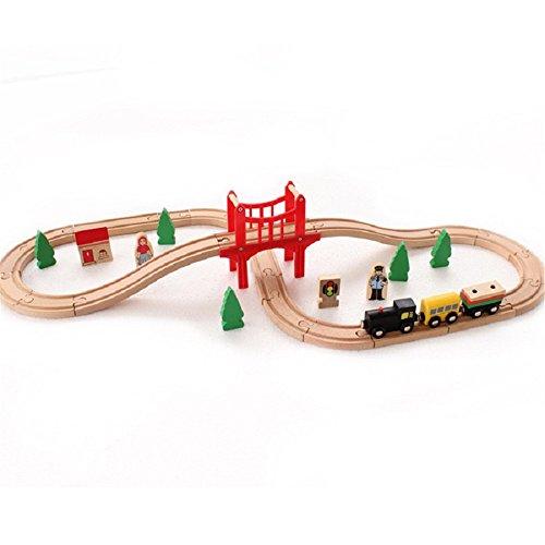 zhenyu 木製電車セット レールレールレール組み立てブロック パズルアクセサリー 教育玩具 37ピース 男の子 女の子 3歳以上の商品画像