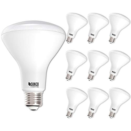 Sunco Lighting 10 Pack BR30 LED Light Bulb 11 Watt (65 Equivalent) Flood Dimmable 5000K Kelvin Daylight 850 Lumens Indoor/Outdoor 25000 Hrs For Use In Home, Office And More - UL & ENERGY STAR LISTED