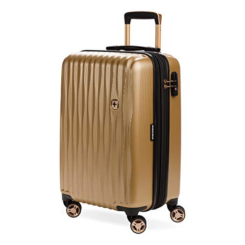 SwissGear Hardside Expandable Luggage with Spinner Wheels and TSA Lock, Gold, Carry-On 19-Inch