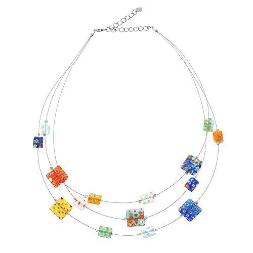 16 Triple Necklace Strand - Millefiore Venetian Murano Glass Multi-Colored Oblong Beaded Triple Strand Necklace, 16-19 inches