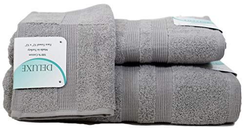 Deluxe Hotel and Spa 3-Piece Cotton Bath Towel Set, 100% Turkish Natural Soft Cotton, Made in TURKEY (1 Set, Marble Grey) ()