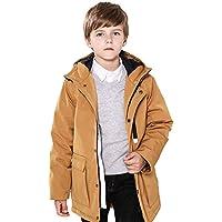 SOLOCOTE Boys Winter Coats 5-12Y Hooded Warm Long Jacket Waterproof Windproof Outwear