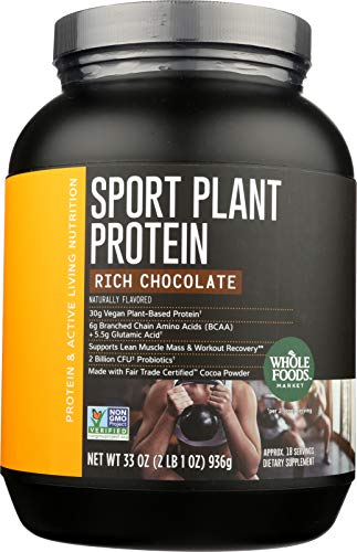 Whole Foods Market, Sport Plant Protein, Rich Chocolate, 33 oz