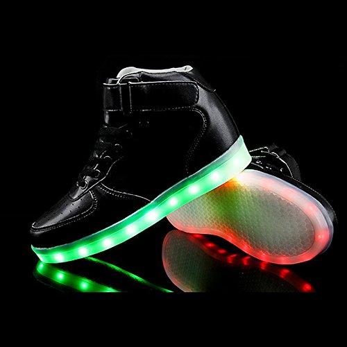 46eu Sport Lysende Spøkelse Ledet Fluorescerende Dans Sko Sko 36 Usb 3 11uk Svart Eastlion Fargerike Lading wYqanHw6
