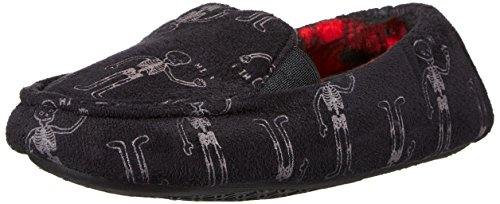 Trimfit Boys' Glow in The Dark Skelton Loafer Slippers Moccasin, Black/White/Red, 11/12 M US Little Kid by Trimfit (Image #1)