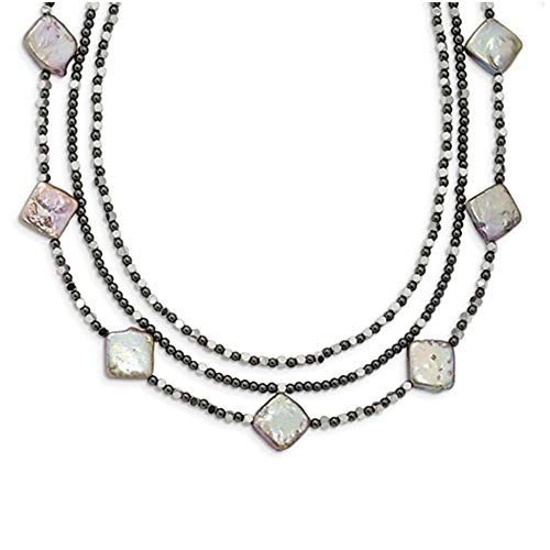 (Brilliant Bijou Solid .925 Sterling Silver Hematite & FW Cult. Pearl 3Strand w2in Ext. Fancy Necklace 17.5)
