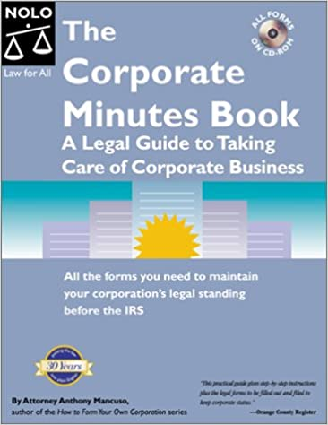 the corporate minutes book anthony mancuso 9780873374798 amazon