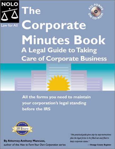 the corporate minutes book anthony mancuso 9780873374798 amazon