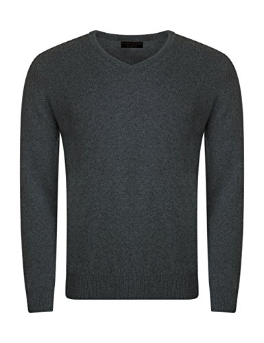 Mens Made In Scotland 100% Cashmere V Neck Pullover Summer Isles-Medium by Great and British Knitwear