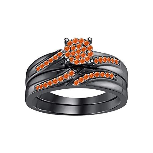 RUDRAFASHION Round Cut Orange Sapphire 14k Black Gold Plated Flower Bridal Ring Set for Womens