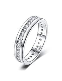 JewelryPalace Cubic Zirconia Anniversary Wedding Band Eternity Ring Channel Set 925 Sterling Silver