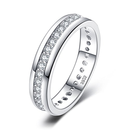 JewelryPalace CZ Wedding Bands For Women Wedding Rings For Women Eternity Bands Anniversary Eternity Ring Channel Set Cubic Zirconia 925 Sterling Silver Ring Size 8