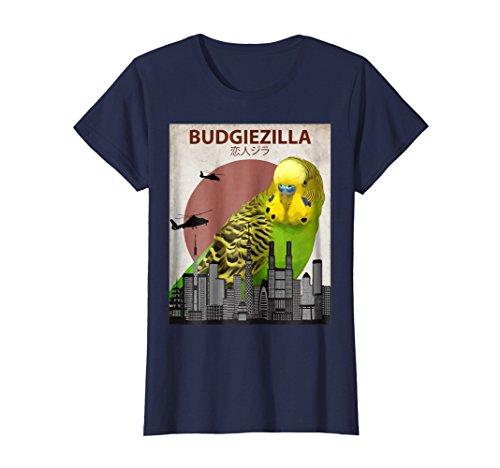 Womens Budgiezilla | Budgie T-Shirt for Budgerigar Parakeet Lovers Medium Navy