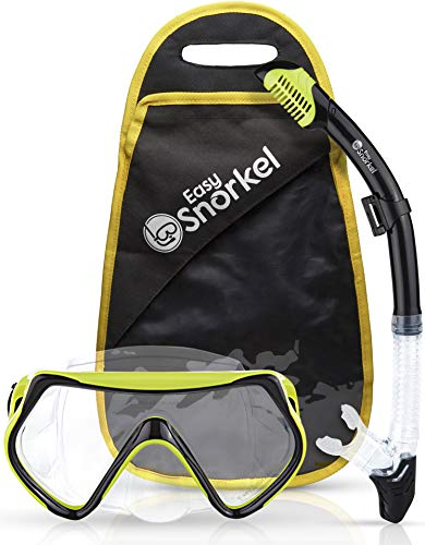 Easy Snorkel Original Dry Snorkel and Mask Set - Impact-Resistant Tempered Glass Diving Mask- Dry Top Snorkel with Anti-Leak Function - Snorkeling Set for Adults and Teenagers (Yellow)