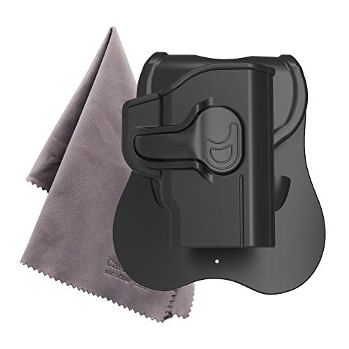 M&P Bodyguard 380 Paddle Holster - Custom Molded to Fit S&W Bodyguard .380 with Integrated Crimson Trace Laser, Black -Microfiber Cloth Included