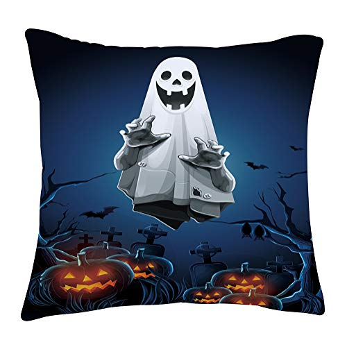 Halloween Room Themes (Pumpin Ghost Pillow Covers of Halloween Theme 3D Print Tombstone Fly Bats Owl Dead Tree Element Sofa Home Living Room Decorative Short Plush 1 Piece 16 x 16 Inch Cushion)
