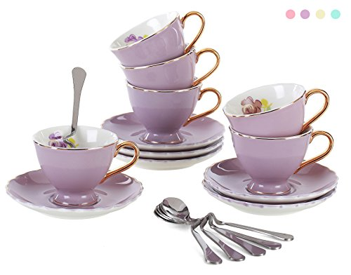 Jusalpha Fine China Coffee Bar Espresso small Cups and Saucers Set of 6 (FD-TCS02 purple (6), 3oz)