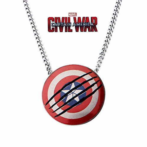 (Heroes in Action BLACK PANTHER CAPTAIN AMERICA CIVIL WAR SHIELD PENDANT NECKLACE LTD. EDITION EXCLUSIVE)
