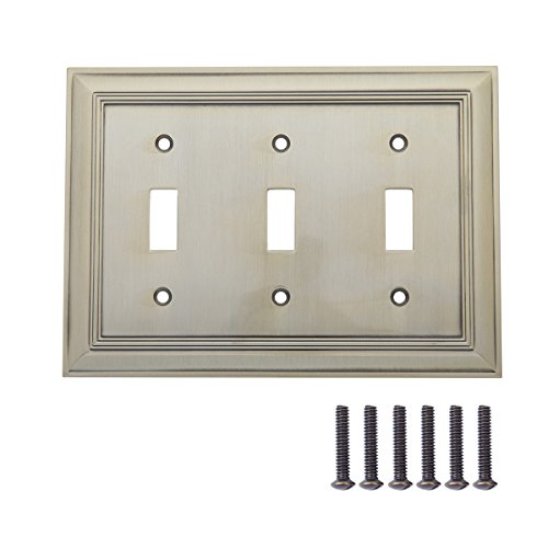 AmazonBasics Triple Toggle Light Switch Wall Plate, Antique Brass, 1-Pack