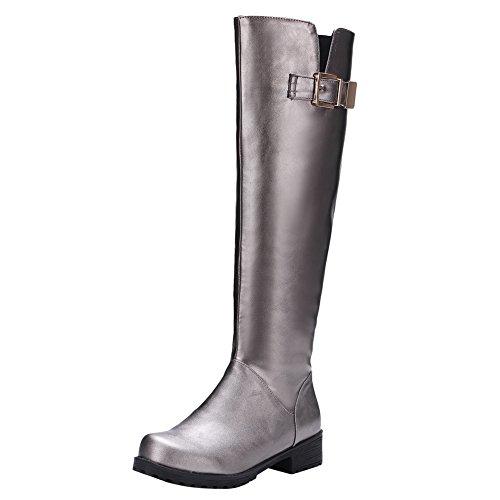 Latasa Womens Chunky Heels Knee High Riding Boots Slate Gray LfP2EGF