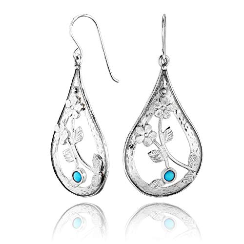 PZ Paz Creations Turquoise 925 Sterling Silver Pear Shaped Dangle Earrings (Sterling-Silver)