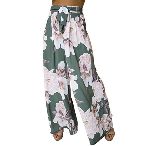 A Forever Fairness Women's Pant Chiffon Printed Loose Wide Leg Pants with Belt Print Long Trousers for Women Grey Green M ()