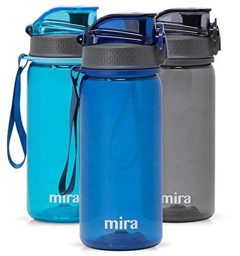MIRA 17 oz Reusable Tritan Water Bottle | BPA-Free Plastic Sports Water Bottle | Leak Proof Locking Flip Top Lid with Easy Flow Spout | Navy