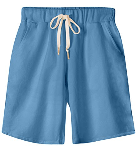 (HOW'ON Women's Soft Knit Elastic Waist Jersey Casual Bermuda Shorts with Drawstring Blue Grey L )