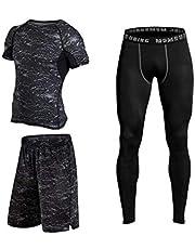 بدلة ضاغطة ضيقة للجري واللياقة البدنية مكونة من 3 قطع تتضمن قميص وبنطال وشورت للرجال