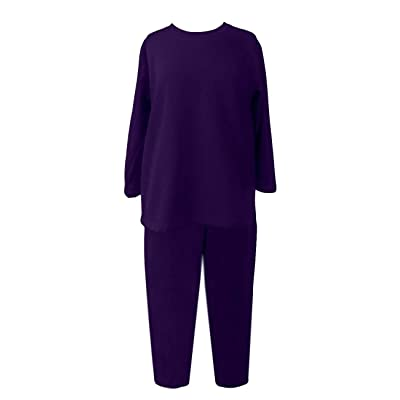 Adaptive Backsnap Fleece Pant Set with Side Zipper Pants (L, Purple) at Women's Clothing store