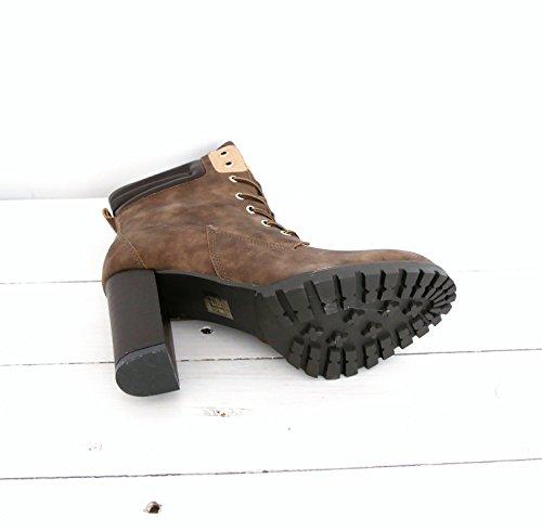 8373f2347ad3c7 ... Ankle Worker Boots Schnürstiefeletten Damen Schuhe Plateau Blockabsatz  (8339) Khaki