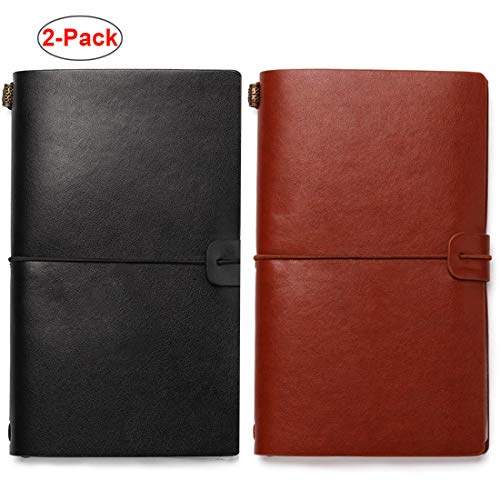Travelers Notebook Refillable Leather Journal - Antique Handmade Vintage Faux Leather Bound Notebook for Men & Women, 4.72x7.87 Inch, 72 Sheets/144 Pages, 2 Pack (Black/Brown) ()
