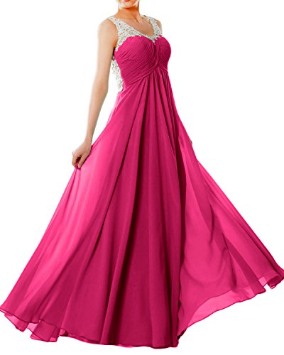 MACloth Women Straps V Neck Chiffon Lace Long Prom Dress Formal ...