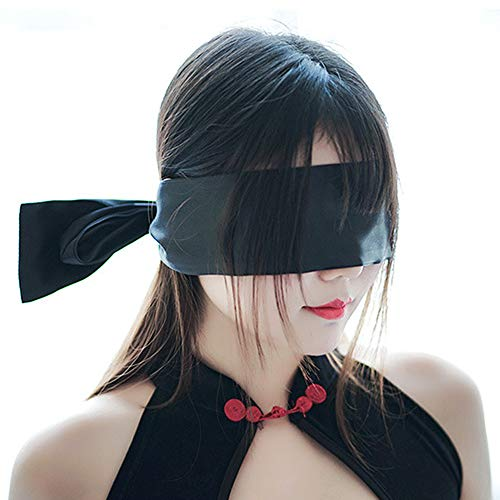 YOMORIO Satin Bandage Blindfold Eye Mask for Sex Adult Bedroom Sexy Playsuit Lingerie Accessories (All-Black)
