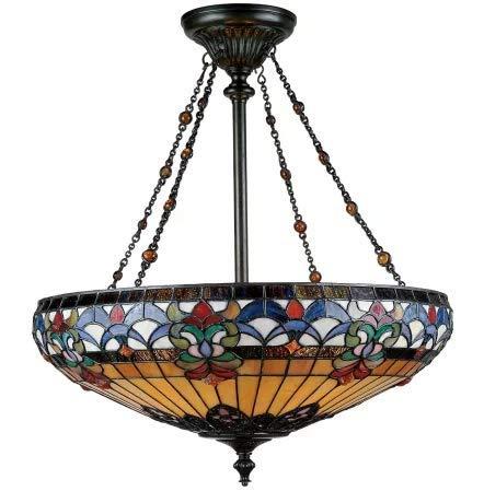 - Quoizel TF1781VB Belle Fleur Tiffany Bowl Pendant Lighting, 4-Light, 400 Watts, Vintage Bronze (27