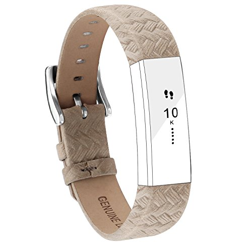POY Replacement Bands Compatible for Fitbit Alta and Fitbit Alta HR, Genuine Leather Wristbands, Weave Gray