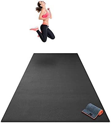 "Premium Extra Large Exercise Mat - 10' x 4' x 1/4"" Ultra Durable, Non-Slip, Workout Mats for Home Gym Flooring - Plyo, HIIT, Cardio Mat - Use With or Without Shoes (120"" Long x 48"" Wide x 6mm Thick) by Gorilla Mats"