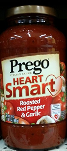 Prego Heart Smart Pasta Sauce, Roasted Red Pepper & Garlic 24 Oz (Pack of 2) (Heart Prego)