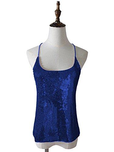Kaci Bleu Fines Brillant Spaghetti Femme Camisole Bretelles Top Sparkly Paillette Vest Anna Tank fdaFwqxZF