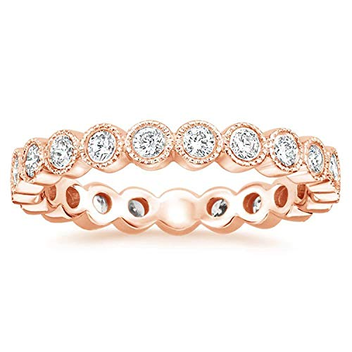 - espere Sterling Silver Round Bezel CZ Stack Ring Eternity Bands Promise Rings for Her 18K Rose Gold Plating Size 7