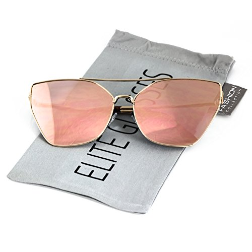 Flat Top Oversized Cat Eye VINTAGE RETRO Style Aviator SUNGLASSES Metal Frames (Gold Frame / Pink Mirrored, - Oversized Sunglasses Aviator Mirrored