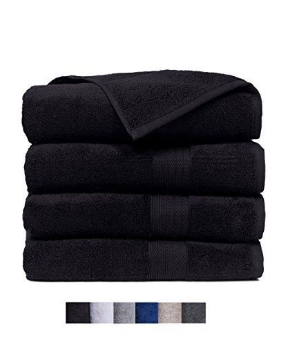 Casa Platino Quick Dry Super Zero Twist 4 Pack Large Bath Towel Set 28x54 7 Star Hotel Luxury Collection - 100% Pure Super Zero Twist Cotton (onyx black) by Casa Platino