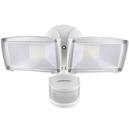 LEPOWER 2500LM LED Security Light, 28W Outdoor Motion Sensor Light, 6000K, IP65 Waterproof , Adjustable Head Flood Light for Entryways, Stairs, Yard and Garage