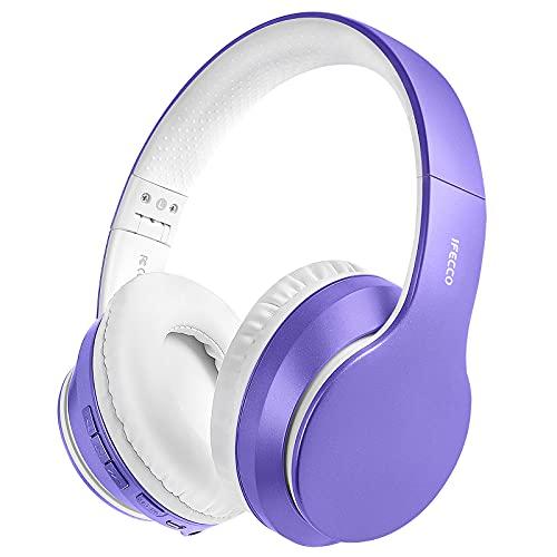 Cascos Inalambricos Bluetooth, Auriculares Diadema Estéreo Inalámbricos Plegables, Micrófono Incorporado, Cascos Bluetooth Inalámbrico y Audio Cable para PC/ MP3/Móviles/TV(Morado Claro)