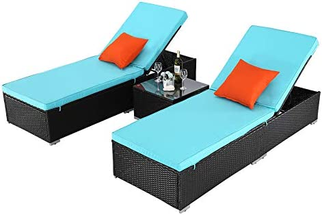 Do4U 3 Pieces Outdoor Patio Chaise Lounge Sets Adjustable Backrest PE Rattan Reclining Chair with Cushion Pool Porch Lounge Chair Set with Coffee Table Turquoise