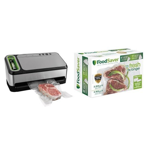 FoodSaver 2-in-1 Vacuum Sealing System with Starter Kit, 4800 Series, v4840 & FoodSaver 8″ & 11″ Rolls with unique multi layer construction, BPA free, Multi-Pack