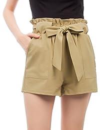 Women's Pants Trouser Slim Casual Cropped Paper Bag Waist...