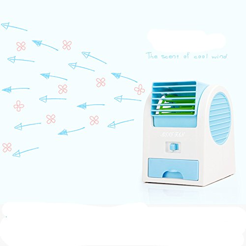 Portable Air Conditioning Fan Air Conditioning Aroma Fan Perfume Seat Fan USB Power & Battery Supply Blue