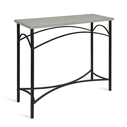Kate and Laurel Strand Console Table, Rustic Gray Wood Top with Iron Legs (Decorating A Sofa Table Behind A Couch)